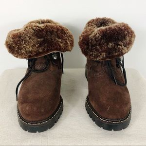 Sorel Suede Ankle Boots Lace Up Fur Lined 7